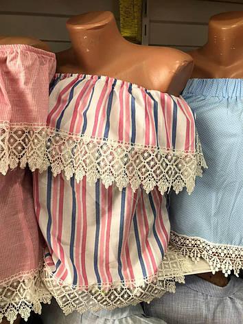 Женская летняя блузка 42-46р полоска розовая голубая, фото 2