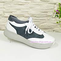 Кроссовки женские на шнуровке, цвет белый/серый