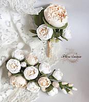 """Свадебная бутоньерка + заколка """"Бело-бежевые пионы"""". Свадебный комплект ручной работы., фото 1"""