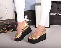 Туфли на танкетке натуральная кожа золото код  20171, фото 1