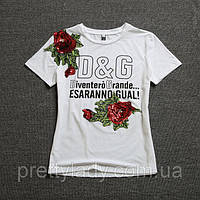 Женская футболка D&G с пайетками Esaranno Gual белая 44-46, фото 1