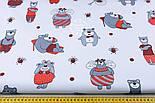 Ткань бязь с большими мишками и пчёлами (красные на белом) №1275, фото 5