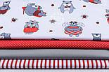 Ткань бязь с большими мишками и пчёлами (красные на белом) №1275, фото 2