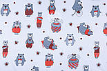 Ткань бязь с большими мишками и пчёлами (красные на белом) №1275, фото 3
