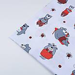 Ткань бязь с большими мишками и пчёлами (красные на белом) №1275, фото 6