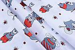 Ткань бязь с большими мишками и пчёлами (красные на белом) №1275, фото 4