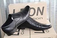 Туфли мужские из натуральной кожи на резинке Leon Class