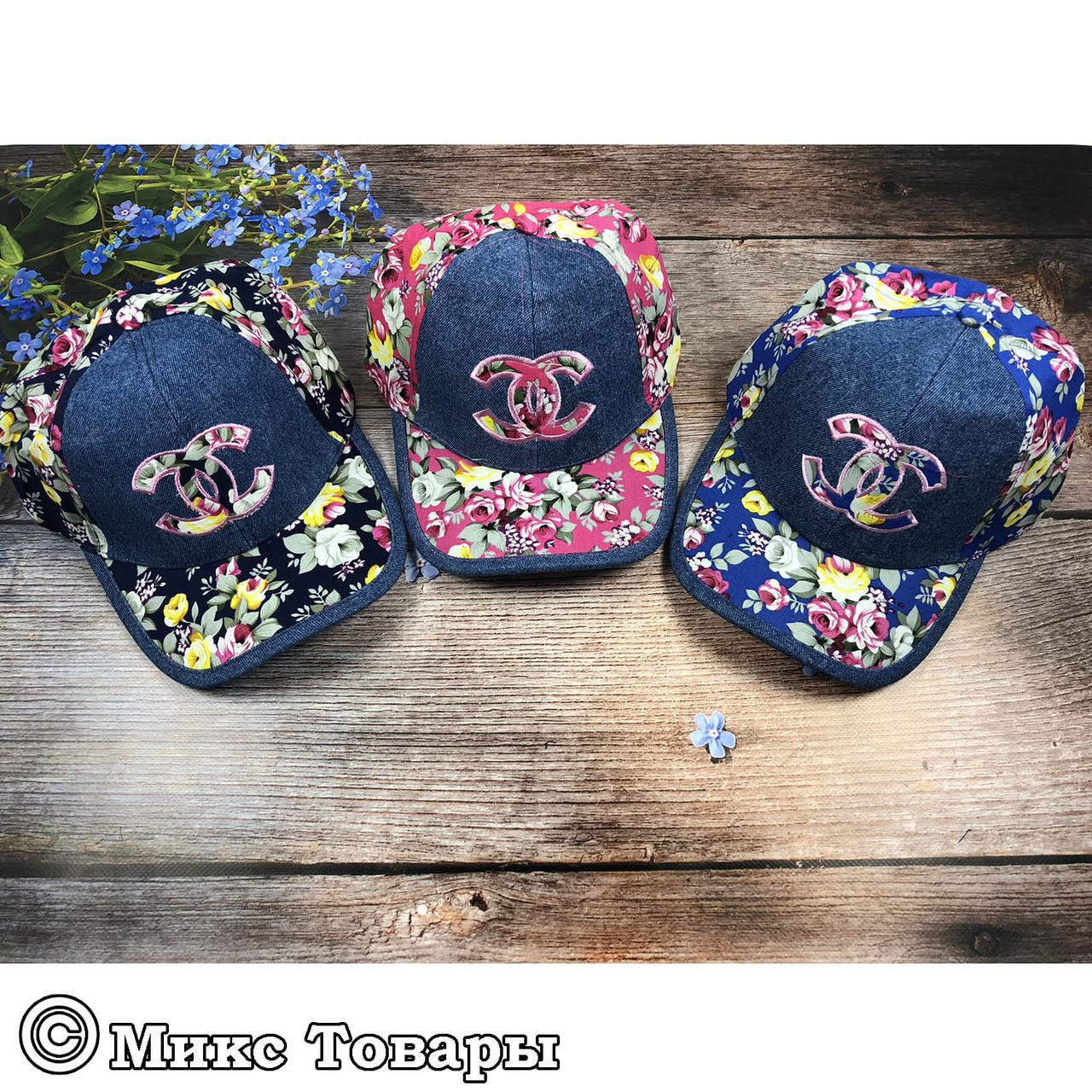 Джинсовые кепки с цветами для девочек (объём 56- 58 см) (1208)