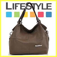 Женская кожаная сумка через плечо Weidipolo хаки