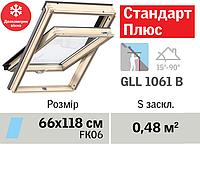 Мансардне вікно VELUX Стандарт Плюс (двокамерне, нижня ручка, 66*118 см), фото 1