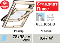 Мансардне вікно VELUX Стандарт Плюс (двокамерне, нижня ручка, 78*98 см)
