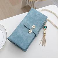 Женский кошелек из нубука CRYSTAL большой с подвеской голубой, фото 1
