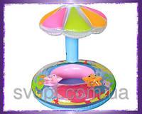 Надувной детский плотик «Рыбка» с навесом (112х64см) 56583 Intex