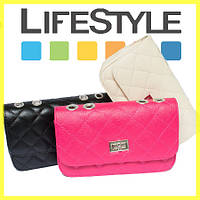Женская сумка клатч Chanel (розовый и бежевый)