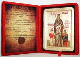 Икона греческая Вера, Надежда, Любовь и мать их София золото