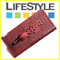 Кожаный женский  кошелек с 3D изображением крокодила.