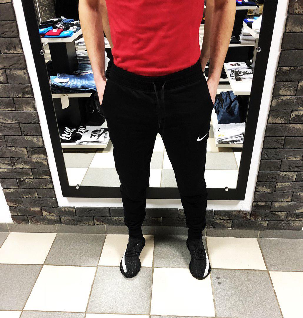 Мужские спортивные штаны Найк на манжетах (реплика) чёрные