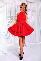 Платье нарядное Ткань - котон мемори. Отделка - гипюр на подкладке. Рост модели - 1,70. 3 цвета апро№1723