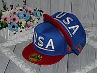 """Реперки  детские с прямым козырьком на окружность головы 50-54см. """"USA"""" (синий с красным)"""