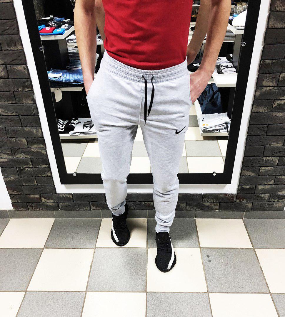 758d7c44 Купить Мужские спортивные штаны Найки на манжетах (реплика) серые по ...