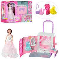 Мебель 99047 (6шт) спальня в виде сумочки,кукла шарнирная29см, аксессуары, в кор-ке,53-39,5-18см