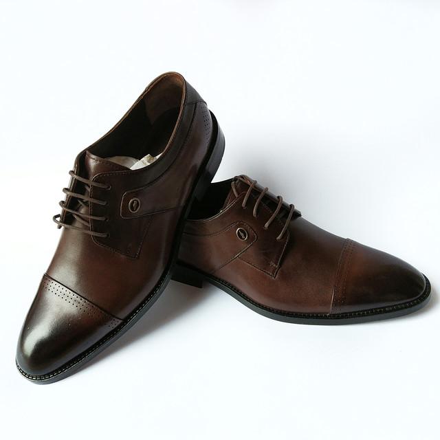 Элитная турецкая мужская обувь классические кожаные туфли, шоколадного цвета, тонированные, на шнуровке