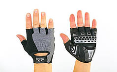 Велоперчатки текстильные ZEL  (открытые пальцы, р-р M, L, серый)