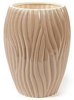 """Керамическая ваза Hydrangea """"Волна"""" Ø15x22см, кофейная, фото 1"""