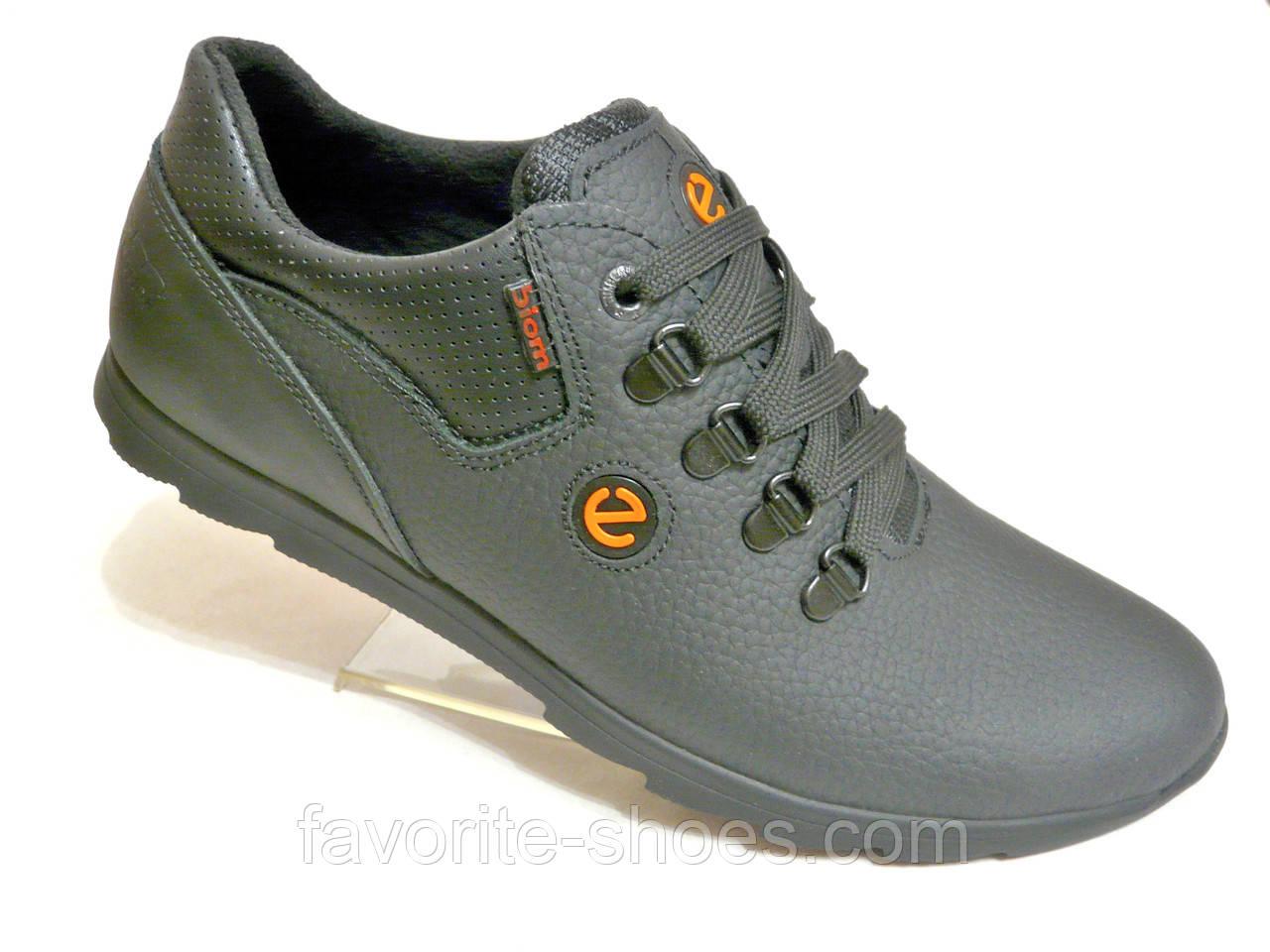 Кожаные мужские кроссовки Ecco чер.