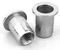 Клепальная гайка стальная рифлёная, цилиндрический бортик