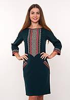 Темно-зеленое платье с вышивкой, арт. 4187