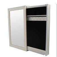 Настенное зеркало-слайдер белое