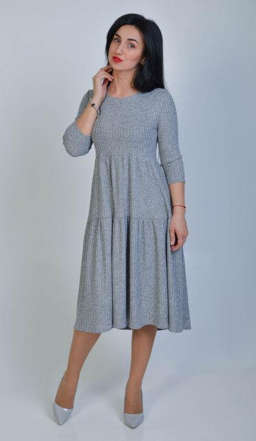 Женское свободное платье миди (размер 42-48)