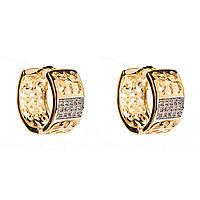 Xuping. Серьги круглые золотого цвета с потрясающим узором и стильной  вставкой из страз