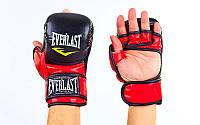 Перчатки гибридные для единоборств ММА PU Everlast BO-4612-BKR (р-р S-XL, черный-красный)