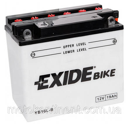 Аккумулятор для мотоцикла сухозаряженный EXIDE YB16L-B 19Ah 215A 175X100X155, фото 2