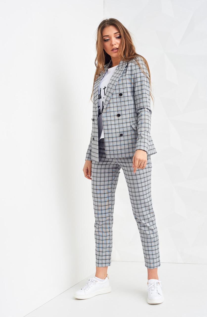 ef87bb00d32 Модный женский костюм в клетку (пиджак и брюки)
