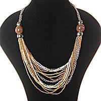 [2-20 мм] Ожерелье цепочки, светлый, темный металл, золотистые, медные, белые, пятнистые бусины различных размеров
