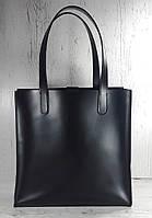 270 Натуральная кожа, Сумка-пакет с мешком на молнии, черная Кожаная Сумка-шоппер черная кожаная