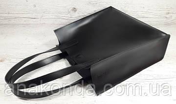 270 Натуральная кожа, Сумка-пакет с мешком на молнии, черная Кожаная Сумка-шоппер черная кожаная, фото 3