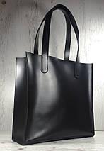 270 Натуральная кожа, Сумка-пакет с мешком на молнии, черная Кожаная Сумка-шоппер черная кожаная, фото 2