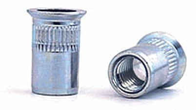 Клепальная гайка стальная рифлёная, потайной бортик