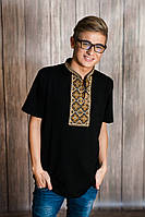 Чоловіча вишита футболка Меланіка Отаманська 3XL чорна з коричневим M - 8 3XL