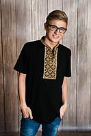 Чоловіча вишита футболка Меланіка Отаманська XXL чорна з коричневим M - 8 XXL