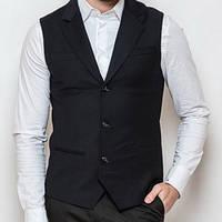 Модный мужской черный пиджак-жилетка
