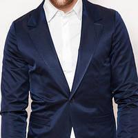 Мужской стильный пиджак приталенный синий
