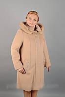 Женское зимнее пальто c капюшоном - кашемир