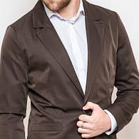 Мужской стильный пиджак приталенный коричневый