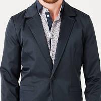 Мужской стильный пиджак приталенный темно-синий
