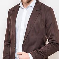 Мужской стильный пиджак приталенный шоколадно-коричневый